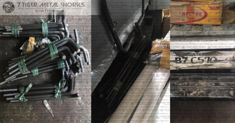Black Iron A325/4140 Mat Anchor Bolt / 1 Nut & 1 Washer / Dia: 20mm / Vertical Length: 400mm / Bend: 100mm / Thread: 100mm / Total Length: 500